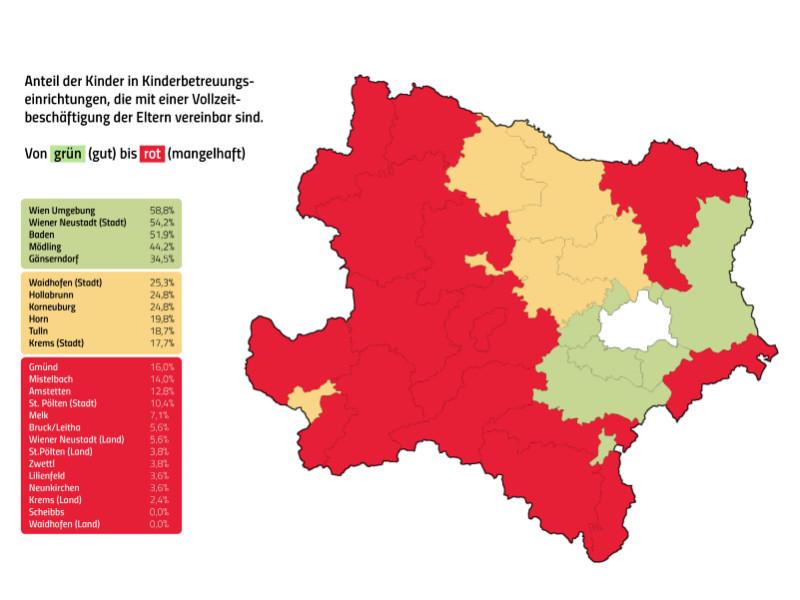 Anteil der Kinder in Kinderbetreuungseinrichtungen, die mit Vollzeitbeschäftigung vereinbar ist. © AK Niederösterreich