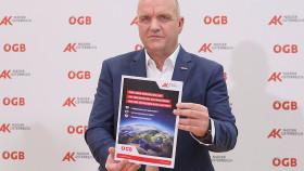 AK Niederösterreich-Präsident und ÖGB NÖ-Vorsitzender Markus Wieser präsentiert das Memorandum der 3V. © Georges Schneider, AK Niederösterreich