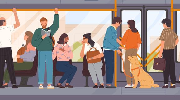 Fahrgäste in einem öffentlichen Verkehrsmittel © Good Studio, Adobe Stock