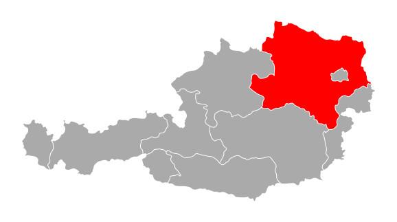 Österreichkarte mit hervorgehobenem Niederösterreich © Robert Biedermann, stock.adobe.com