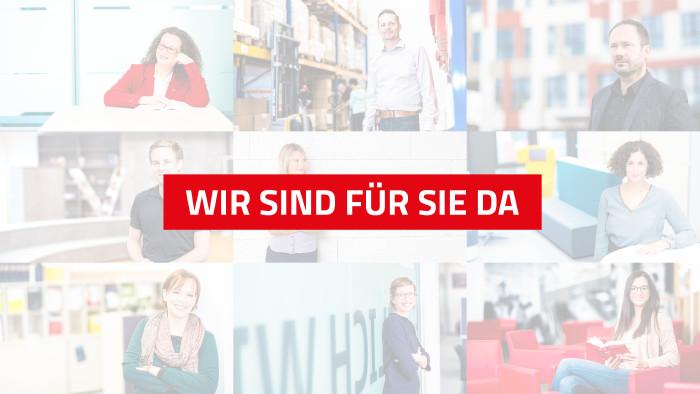 Eine Collage von den Mitarbeitern der AK Niederösterreich mit dem Text: Wir sind für Sie da. © Mario Scheichel, AK Niederösterreich