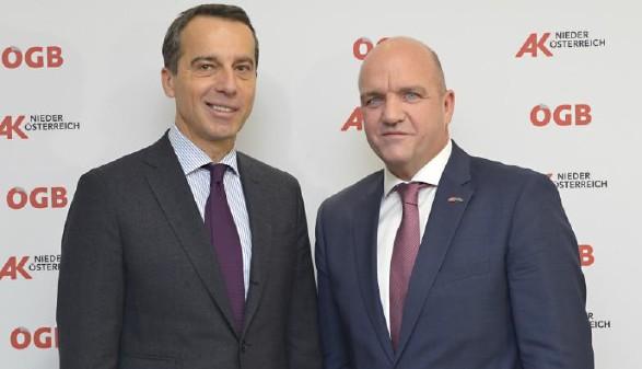Bundeskanzler Mag. Christian Kern und AK Niederösterreich-Präsident Markus Wieser beim Dialog Forum Sozialstaat 4.0 © Kromus, AK Niederösterreich