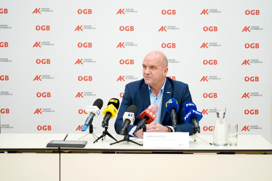 AK Niederösterreich-Präsident und ÖGB NÖ-Vorsitzender Markus Wieser fordert wirkungsvolle Maßnahmen zur Kaufkraftsteigerung. © Wolfgang Prinz, AK Niederösterreich