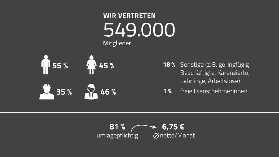 Grafik Mitgliederstand der AK Niederösterreich © Rauch-Gessl, AK Niederösterreich