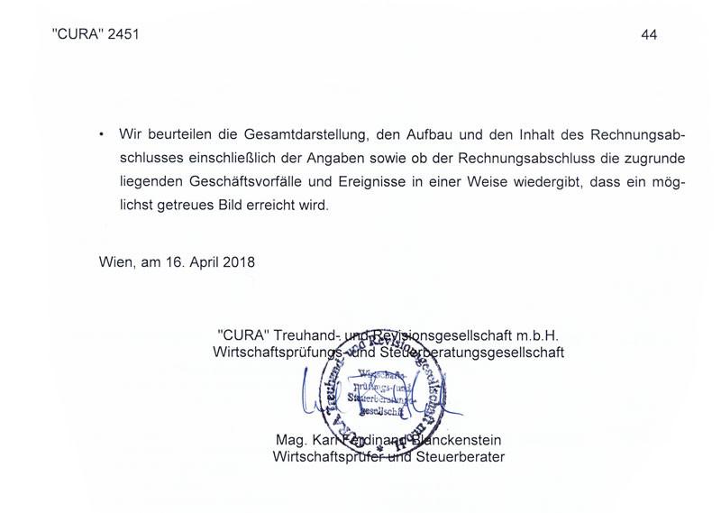 Prüfungsvermerk CURA für Jahresbericht 2017 © Rauch-Gessl, CURA, AK Niederösterreich