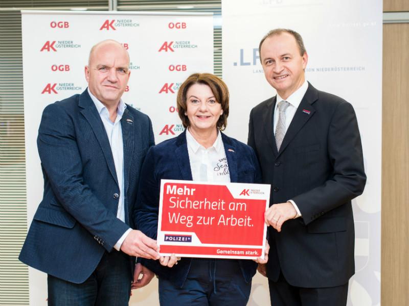 AK-Präsident Wieser, AK-Vize Schilcher, Landespolizeidirektor Kogler © Scheichel, AK