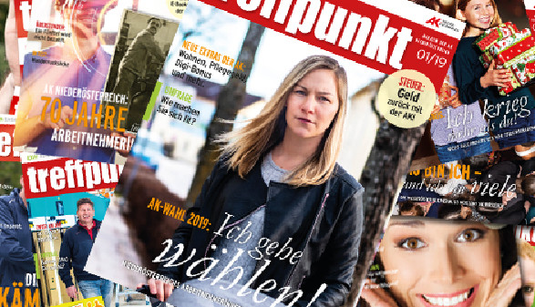 Cover vom aktuellen treffpunkt - das Mitgliedermagazin © Collage/AK Niederösterreich, AK Niederösterreich