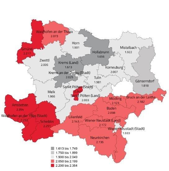 Bezirksergebnisse für Niederösterreich 2017 ©  , AK Niederösterreich