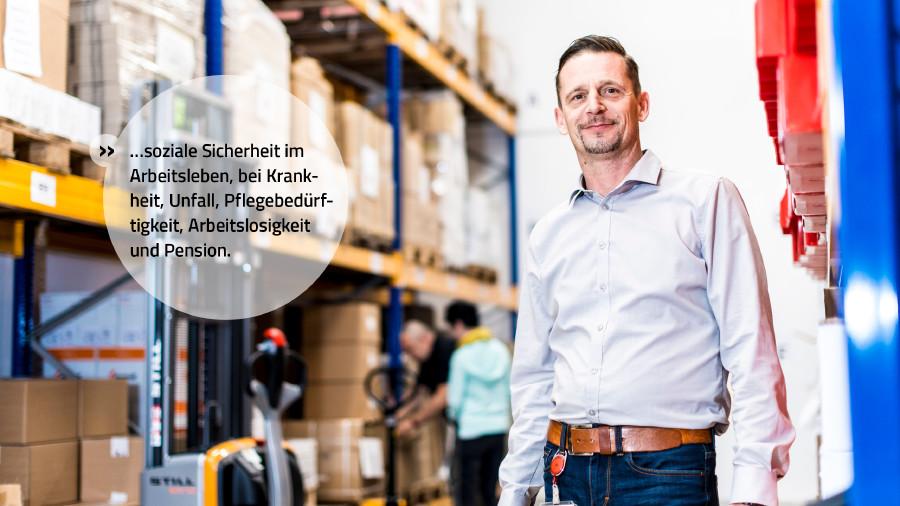 Wir stehen für soziale Sicherheit im Arbeitsleben, bei Krankheit, Unfall, Pflegebedürftigkeit, Arbeitslosigkeit und Pension. © Mario Scheichel, AK Niederösterreich